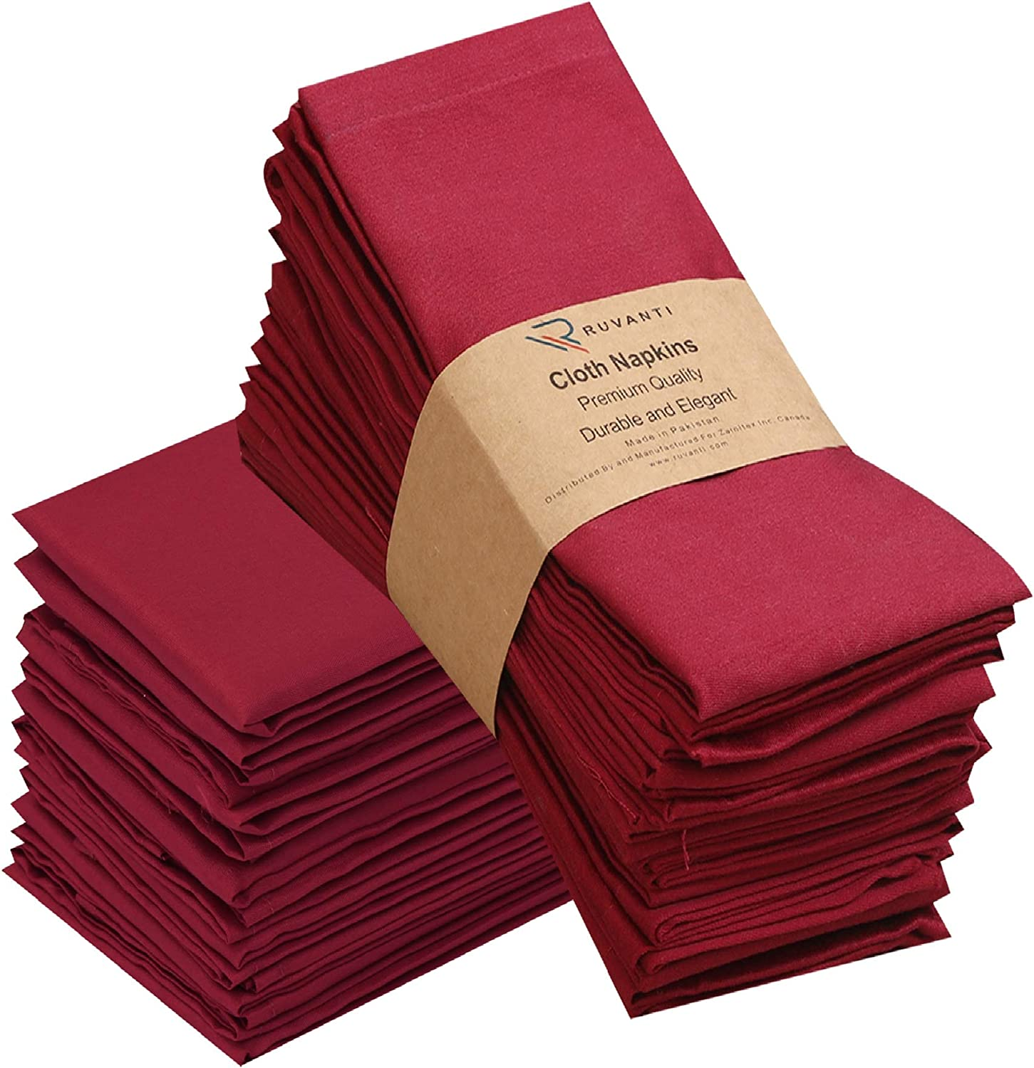 "Ruvanti Kitchen Cloth Napkins 12 Pack (18""X18"") Dinner Napkins Soft and Comfortable, Reusable Napkins, Durable Linen Napkins, Perfect Table Napkins/Burgundy Napkins for Family Dinners, Weddings: Home & Kitchen"