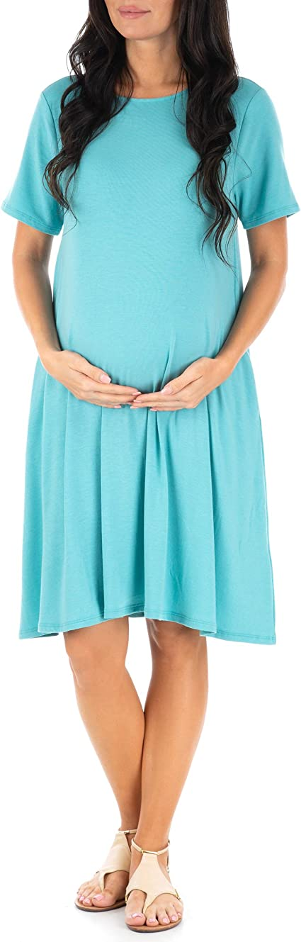 BBHoping Women/'s Short Sleeve V Neck Faux Wrap Maxi Maternity Dress with Adjustable Belt Pregnancy Clothes