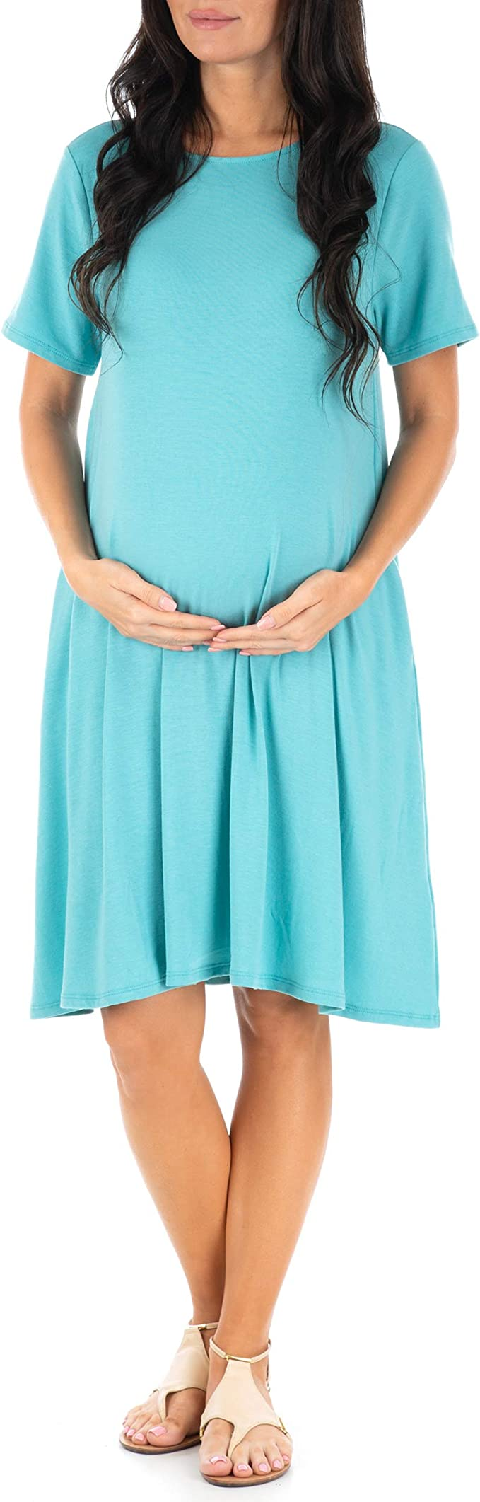 Mother Bee Maternity Women S Maternity T Shirt Dress With Pockets At Amazon Women S Clothing Store