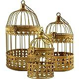 3er Set Vogelkäfig Gold