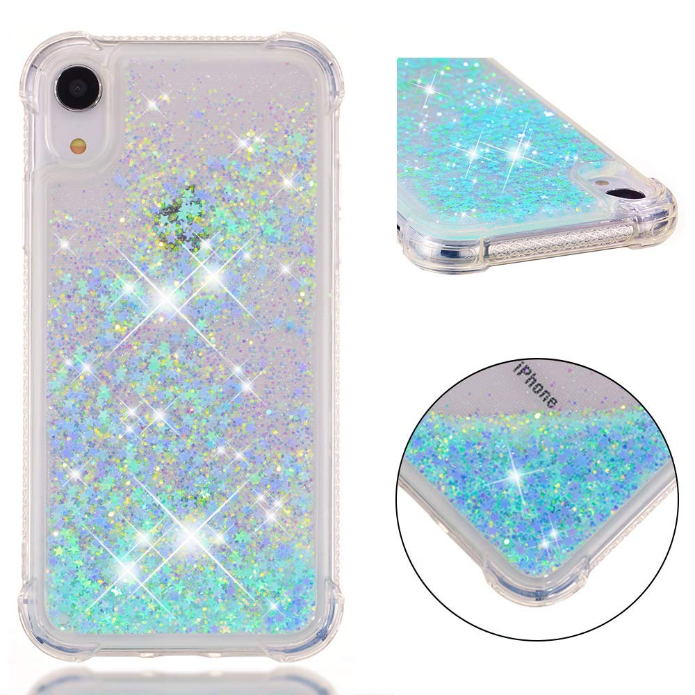iPhone XR Case, Tznzxm Fashion Glitter Liquid Floating Bling Sparkle Quicksand Girls Women Shockproof TPU Protective with Reinforced Corners Bumper Skin for Apple iPhone XR (2018) 6.1-Inch Blue Star