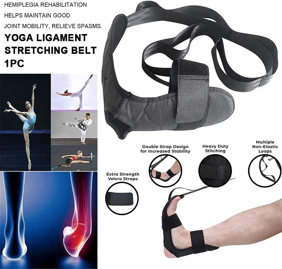 Gym Yoga Ligament Stretching Belt,Foot Stretching Strap Fitness,Stretching Belt Foot for Exercise,Achilles Tendinitis,Relieve Cramps Yoga Stretching Strap Ligament Stretch Bands for Family Fitness