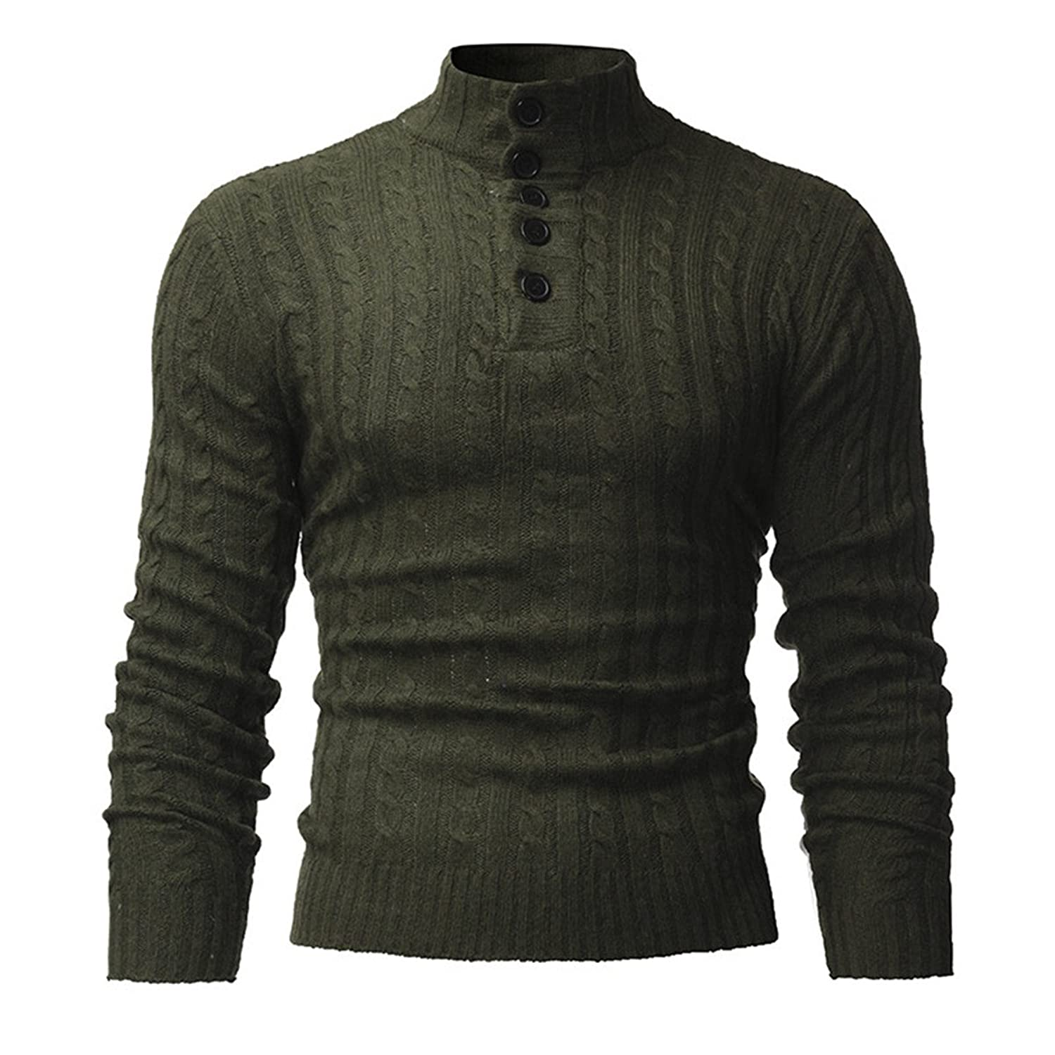 StyleDome Men's Knitted High Neck Pullover Button Up Jumper Sweater Turtleneck Tops