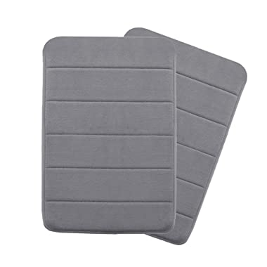 Memory Foam Coral Velvet Non Slip Bathroom Mat/Bath Rug, 17W X 24L Inches Two Pieces (Gray Striped Pattern)