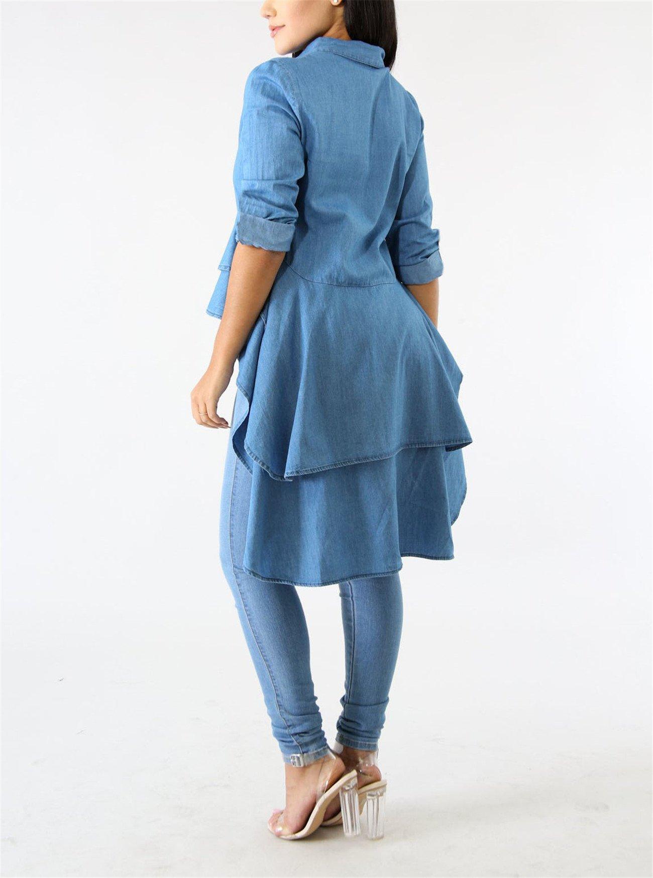 Fashion Cluster Womens Summer Long Sleeve Denim Blue Irregular High Low Hem Buttom Down Tunic Tops Blouse Boho Maxi Polo Shirt Dress XXL by Fashion Cluster (Image #5)