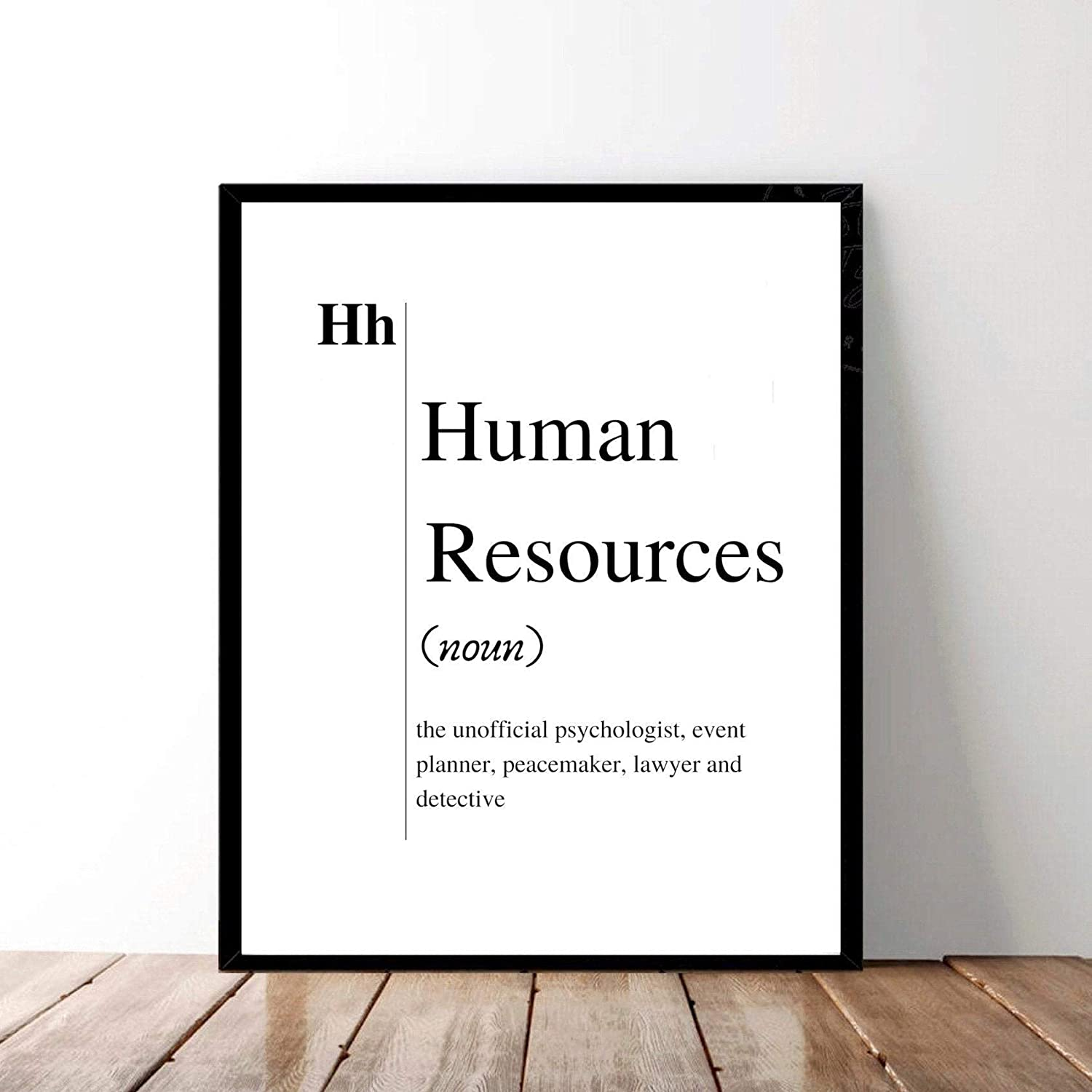 Funny Human Resources Definition Print Digital Download Black and White Typography Printable Hr Office Wall Art Recruiter Gift Best