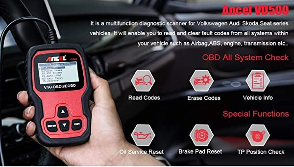 Function VD500 to perform battery checks, TPMS, SAS, and ESP on any Volkswagen Group vehicles including Audis, Skodas, and Seats.