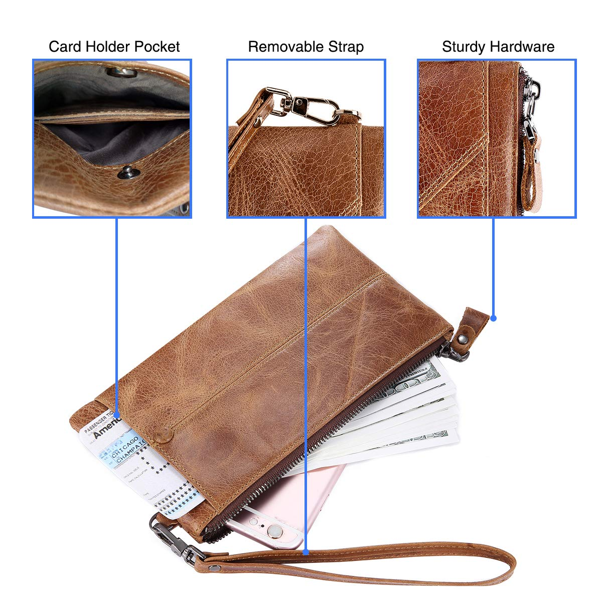 IVESIGN Zipper Wallet RFID Blocking Credit Card Holder Genuine Leather With Wristlet