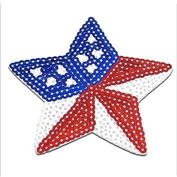 Bügelbild USA Stern mit Pailletten rot//blau Patch Aufnäher 7,2x7,6cm