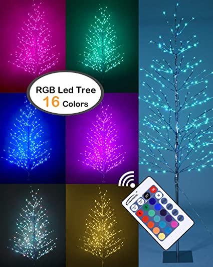 Rgb Led Christmas Lights.Lightshare 7 Ft Led Tree Northern Lights Starlit Tree With 308 Bulbs Rgb Led Lights 7 Feet Silver 16 Colors Lights With Remote Control Included