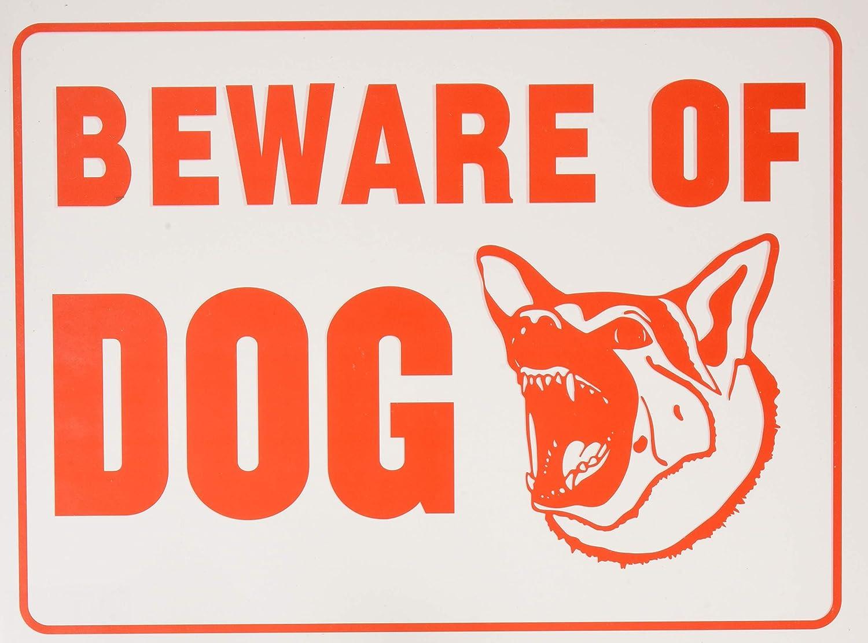 Aluminum Beware Of The Dog Sign Black And Orange