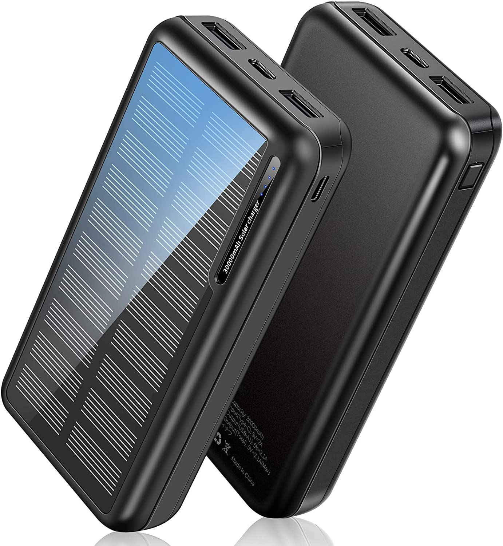 Cargador Solar 30000mAh, Power Bank Solar【2021 Nueva Versión】con Entradas Tipo C & Mirco USB, Bateria Externa Portátil con ABR Shell (Pequeño y Poderoso) para iPhone Android Exterior