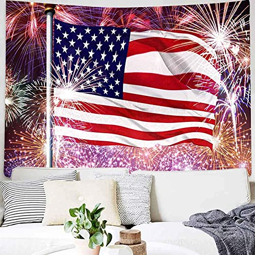 DBLLF American Flag Tapestry Colorful Fireworks Tapestry USA Flag and Fireworks Pattern Hippie Tapestries Wall Hanging, Wall Tapestry Wall Blanket Wall Decor Art Home Decoration 80X60 Inches DBLS347