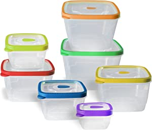 Gourmet Solutions 14 Piece Nested Lids Assorted Food Storage Set, Clear