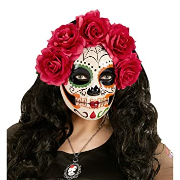 Máscara Sugar Skull con rosas rojas Careta esquelética La Catrina Mascarilla mexicana de muertos Antifaz el