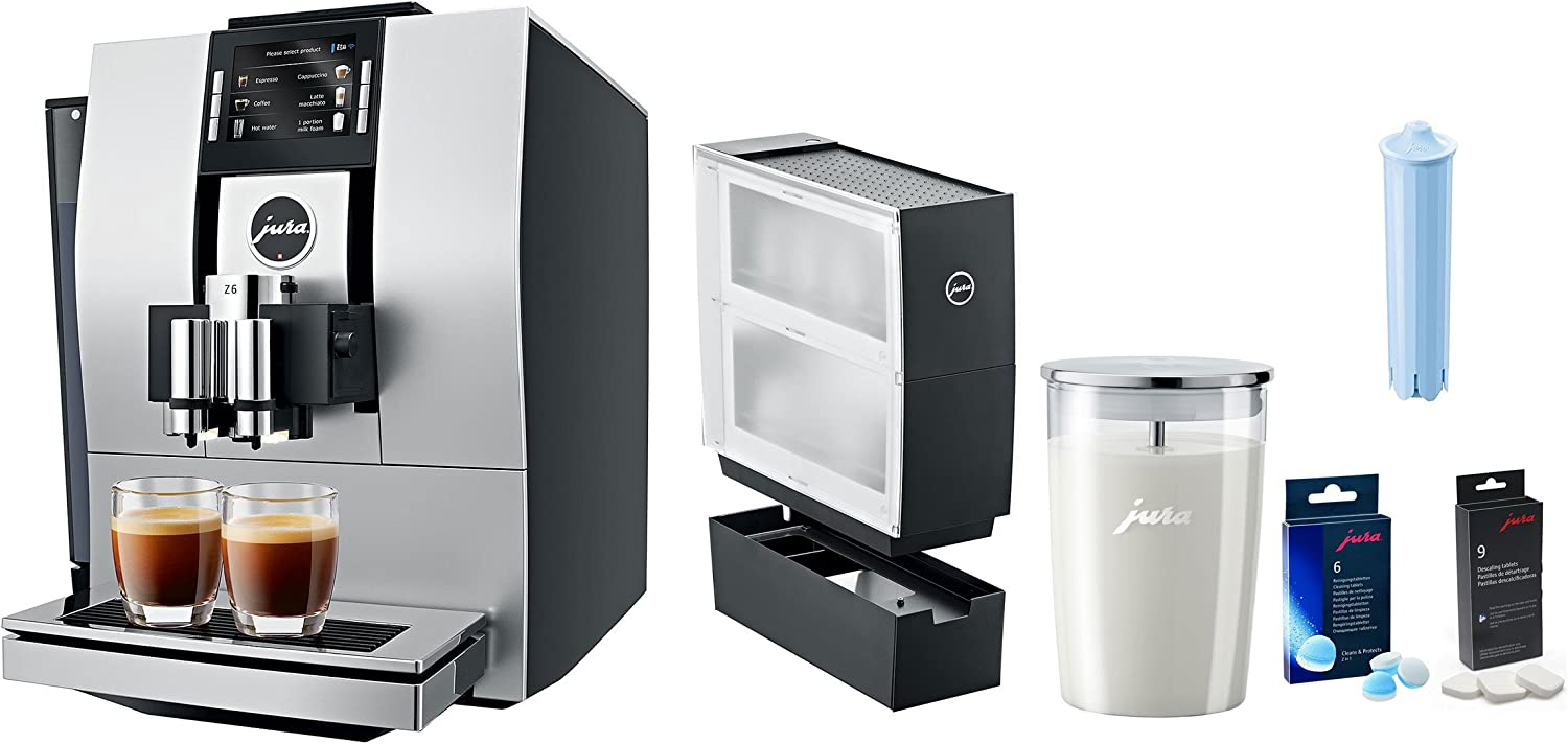 Jura Z6 Coffee Beverage Center With Additional Bonus Cup Warmer, Glass Milk Container, Descaling Tablets, Cleaning Tablets, Clearyl Filter