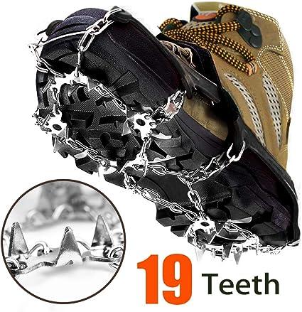 Crampons à neige 19 dents flexibles antidérapants avec