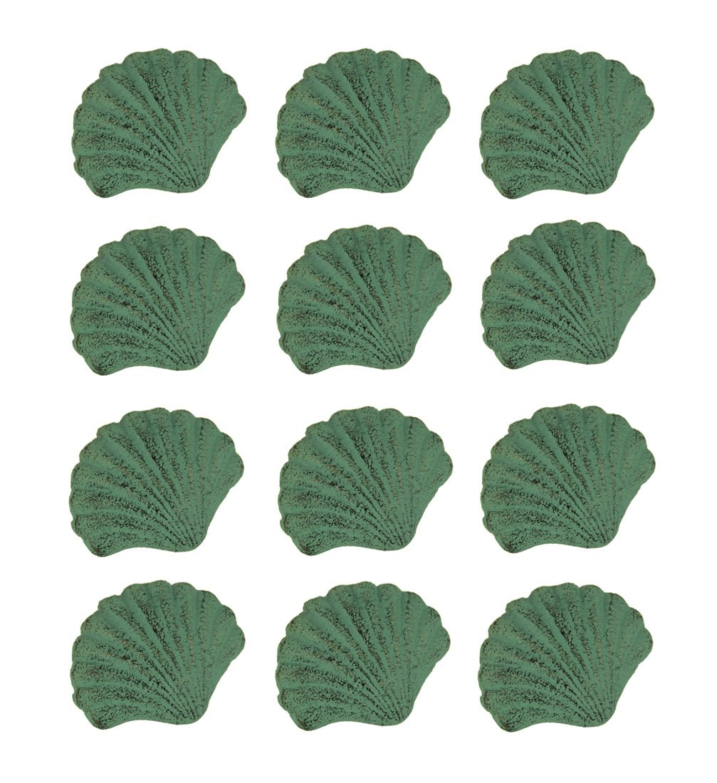 Chesapeake Bay Cast Iron Drawer Pulls Green Verdirgris Cast Iron Scallop Shell Drawer Pull Set Of 12 2.5 X 2 X 1.5 Inches Green
