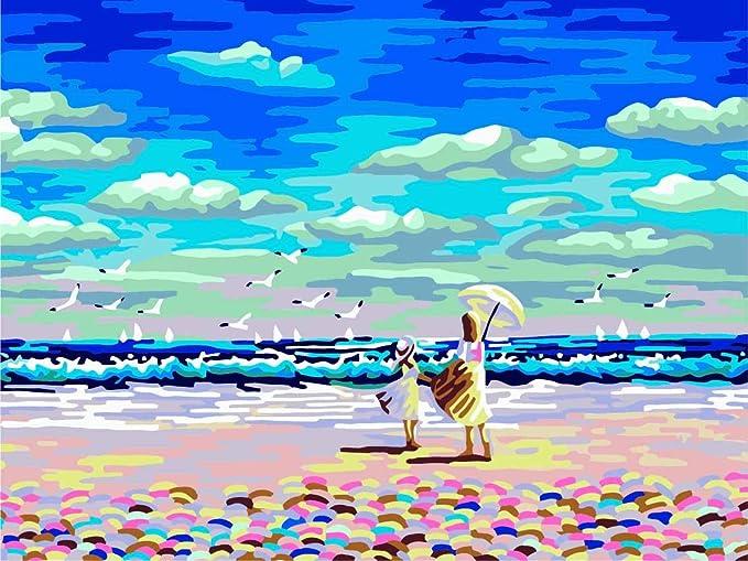 20 Pulgadas Fuumuui Lienzo de Bricolaje Regalo de Pintura al /óleo para Adultos ni/ños Pintura por n/úmero Kits Decoraciones para el hogar-Le/ón con Pelo Frito 16