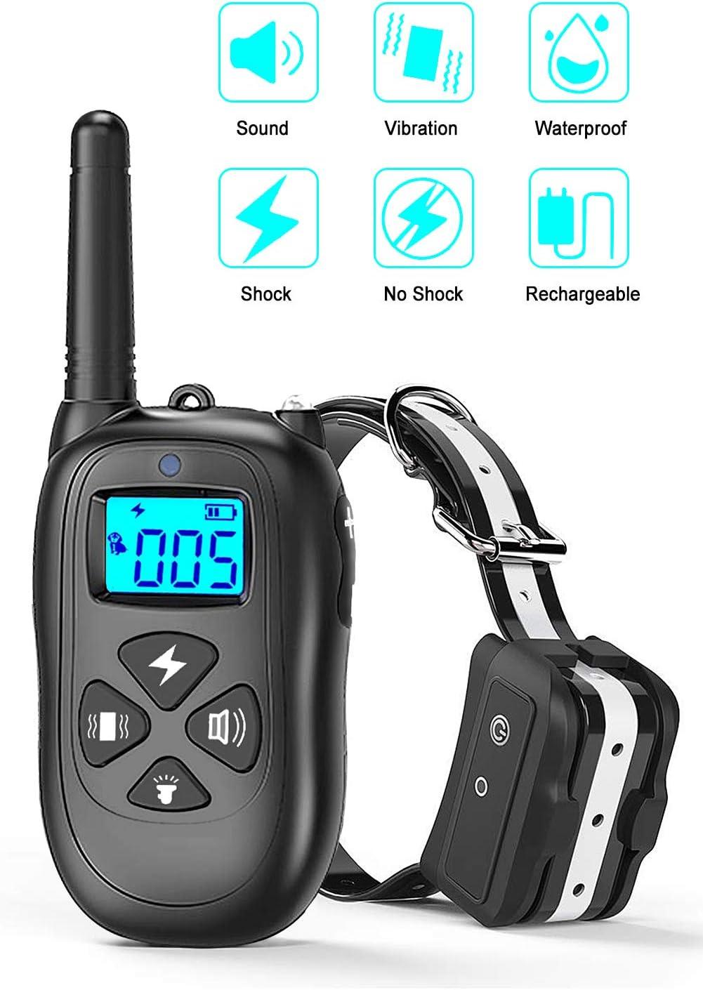 CASACOP Dog Training Collar, Dog Shock Collar 1500Ft Range Dog Collar with Remote IPX7 Waterproof Shock Collar for Small Medium Large Dog