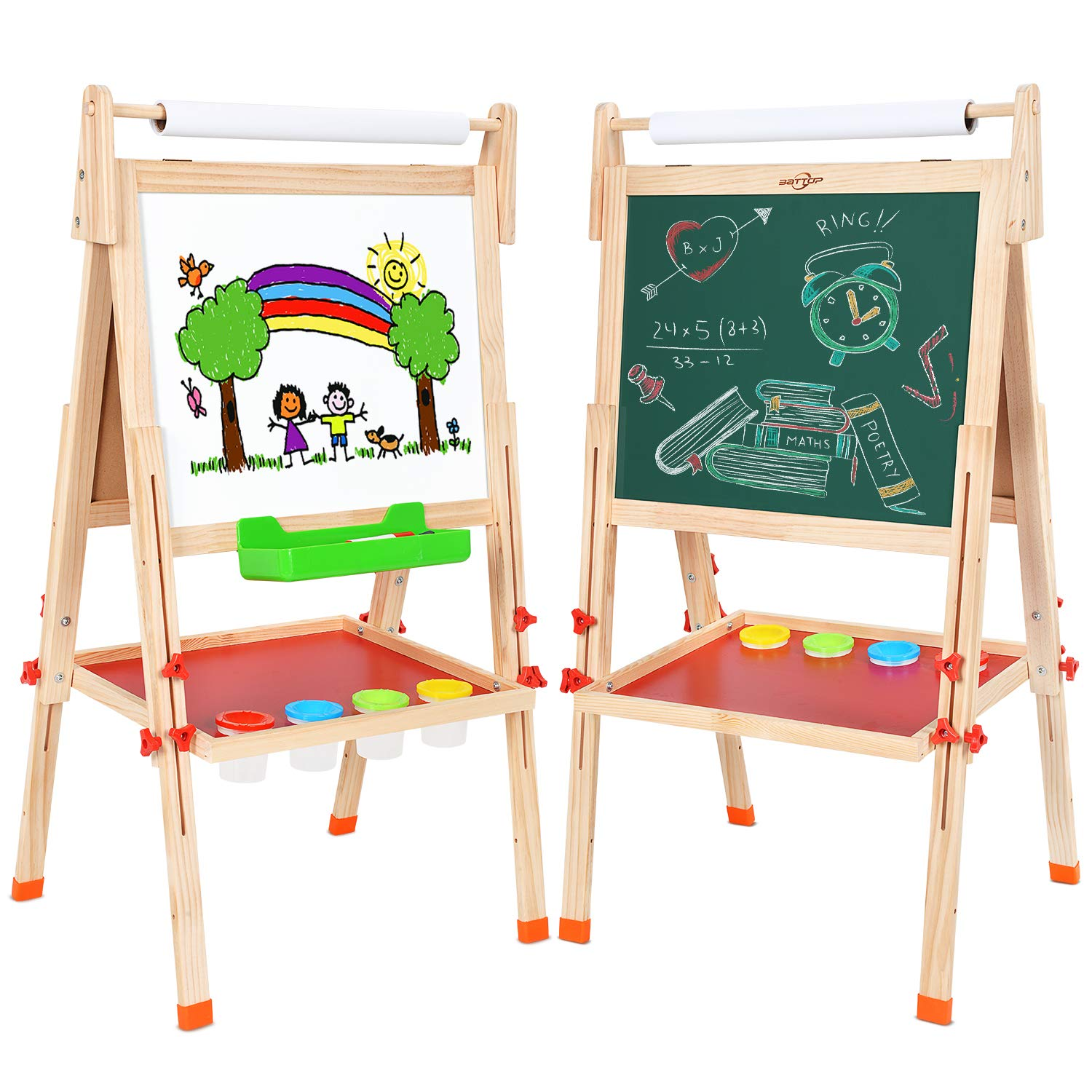 Extra Accessory Set Included 3 in 1 BATTOP Double Sided Adjustable Kids Easel Drawing Board with Magnetic Alphabet Numbers