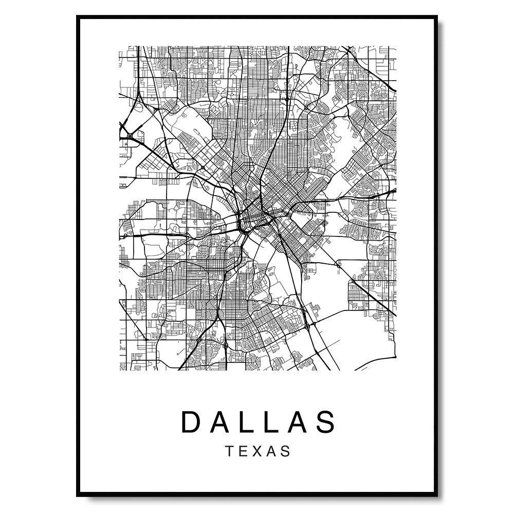 Amazon.com: Dallas Map Wall Art Decor Poster Texas USA City ... on night view of dallas, transportation dallas, hollywood home tour dallas, interactive map of dallas, map of cities around dallas, street map dallas, texas dallas, money dallas, railroad map dallas, zip code map dallas, tourist map of dallas,