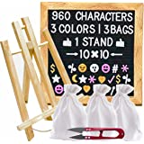 Felt Letter Board with 960 Letters (White, Pink, Gold), 3 Travel Bags, Oak Stand, Scissors, and 60 Emojis (3 Colors). Square 10X10 Inches Sign with Changeable Messages and Characters
