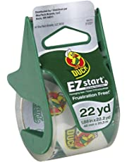 """Duck Brand EZ Start Packaging Tape with Dispenser, 1.88""""x22.2 yd Roll, Single Roll, Clear (393185)"""