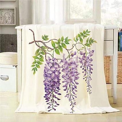 Amazon.com: Mugod Purple Flower Throw Blanket Hand Drawn ...