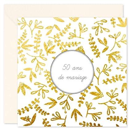 8 Cartes Invitation Anniversaire 50 Ans De Mariage Et 8 Enveloppes Noces D Or Format 14x14 Cm Plié Intérieur Vierge Pour écrire Popcarte