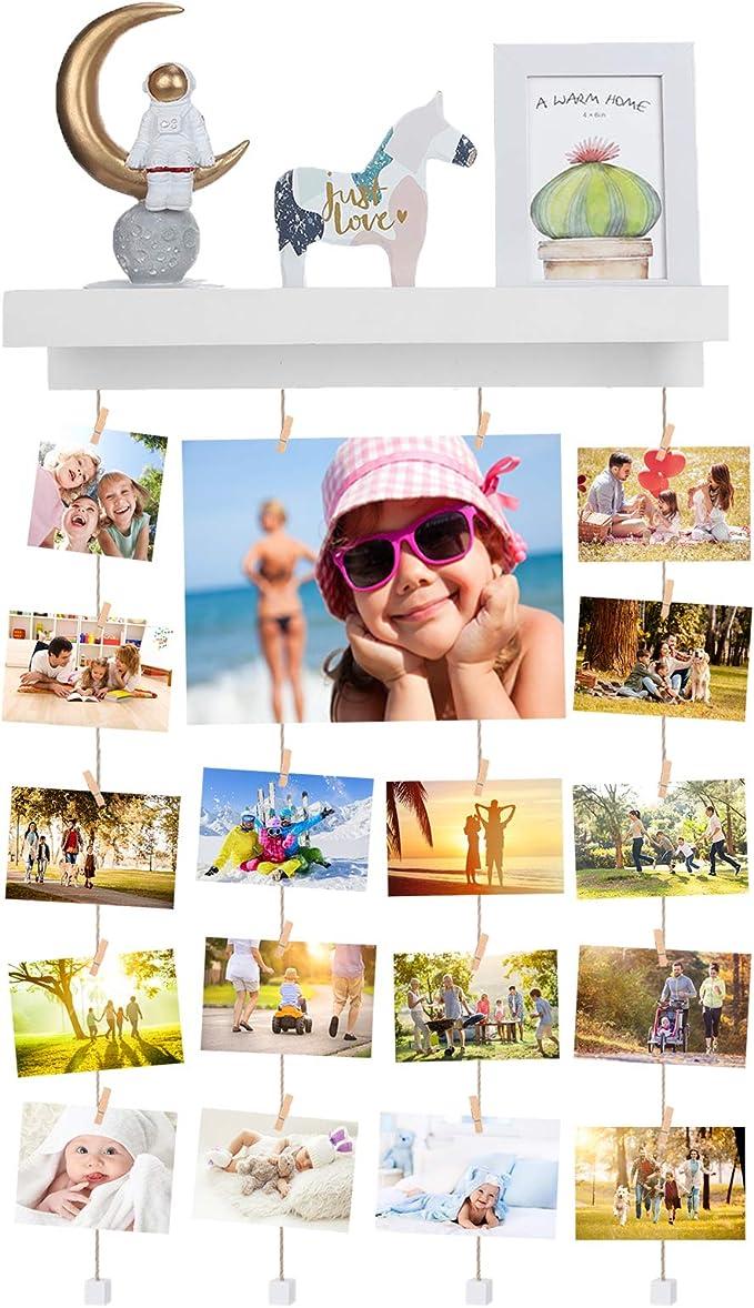 Family Cadre Photo Mural Avec Corde Porte-Photos Avec 30 Petites Pinces D/éCoration De La Maison Cadeau Mariage Et Anniversaire D/éCoration De No/ëL