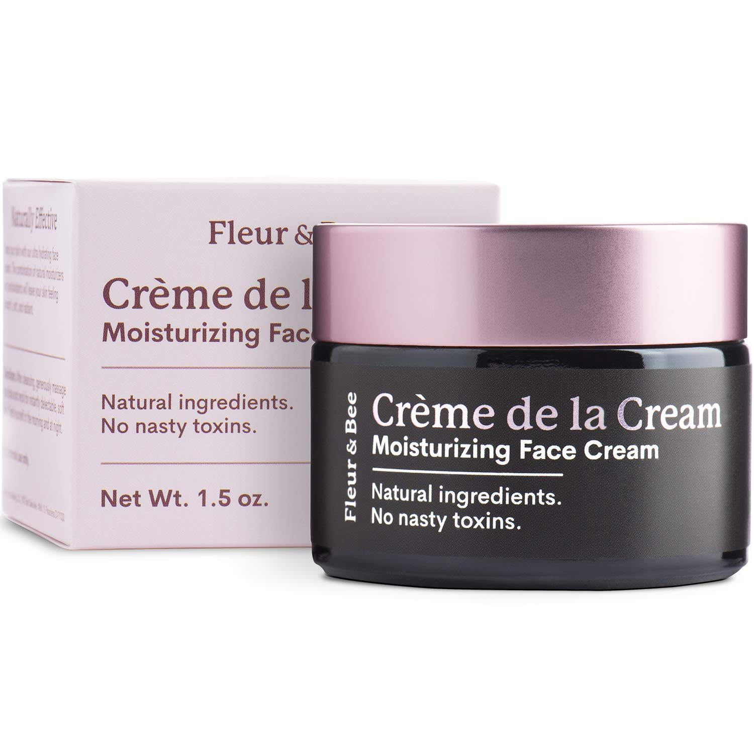 Natural Face Cream Moisturizer – Dermatologist Tested, Hydrating, Anti Aging, Firming, Vitamin C for Even Skin- Vegan Skin Care with Organic Ingredients | Creme de la Cream by Fleur & Bee - 1.5 oz