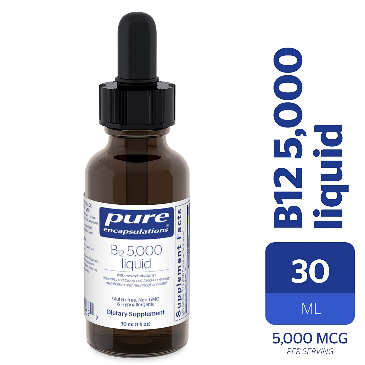 Pure Encapsulations – B12 5000 Liquid – 5,000 mcg Vitamin B12 Methylcobalamin Liquid for Nerve Health and Cognitive Function* – 30 ml