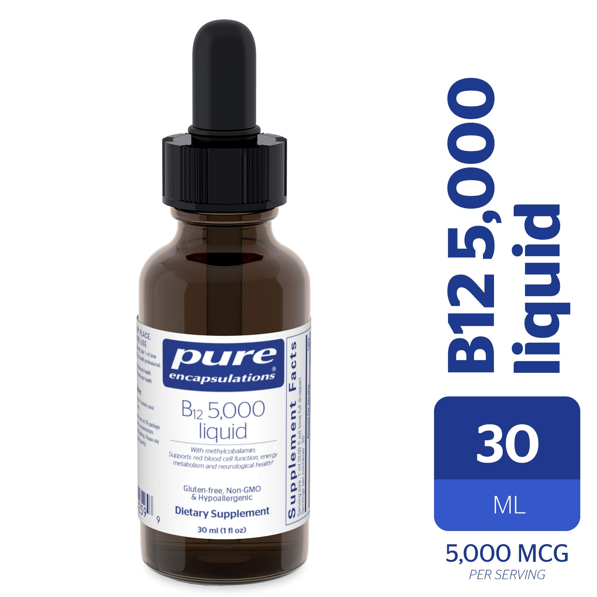 Pure Encapsulations - B12 5000 Liquid - 5,000 mcg Vitamin B12 (Methylcobalamin) Liquid for Nerve Health and Cognitive Function* - 30 ml by Pure Encapsulations