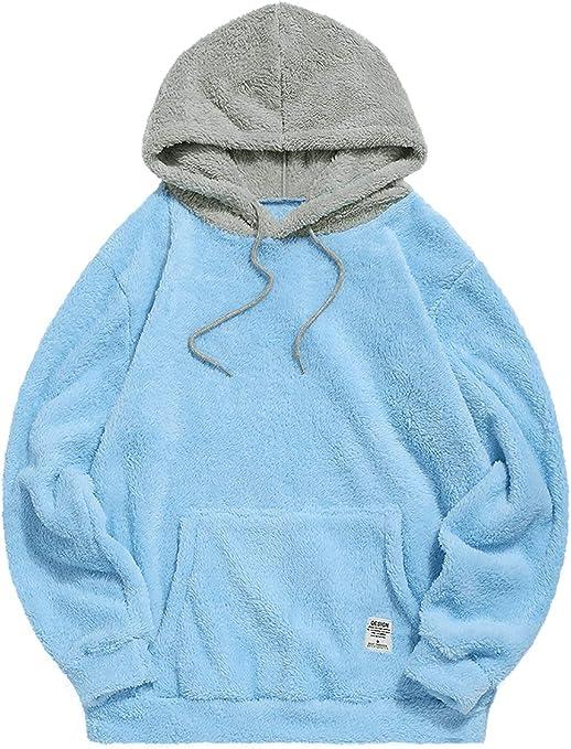 ZAFUL Sweat Shirt à Capuche Hommes Fourré en Blocs De Couleurs Sweat Shirts Splicing Drawstring Pullover