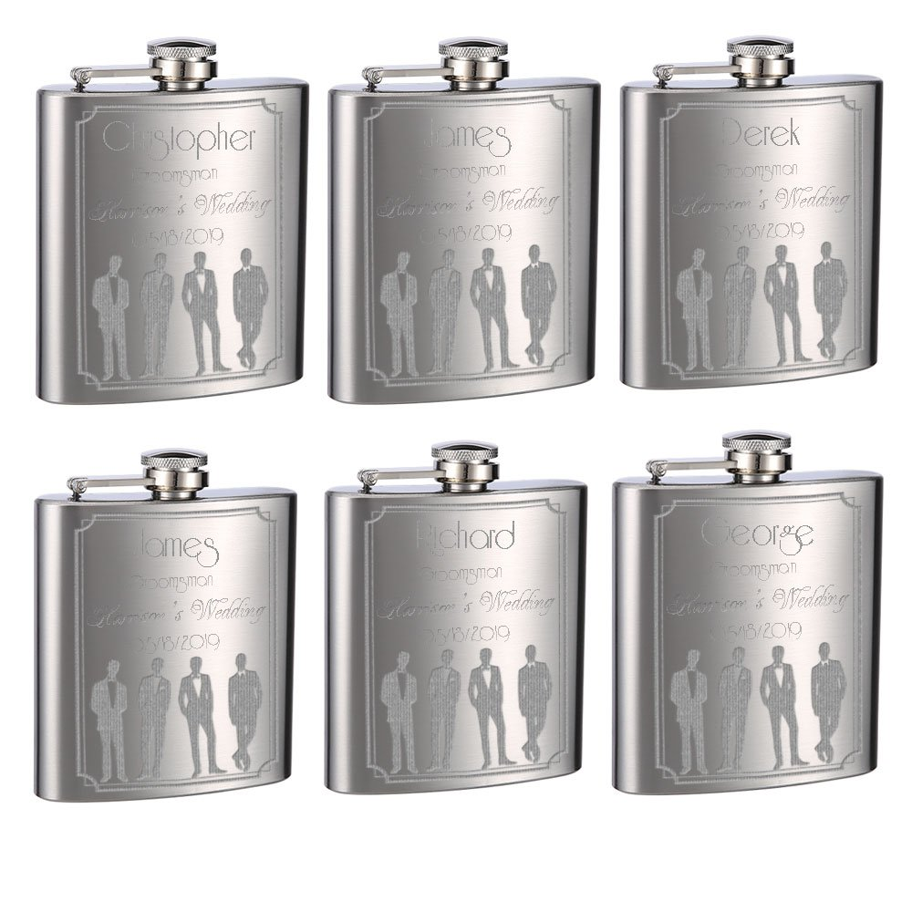 Wedding Flasks for Groomsmen and Groom, 6 Pack of 6oz Flasks, Personalized by TOP SHELF FLASKS
