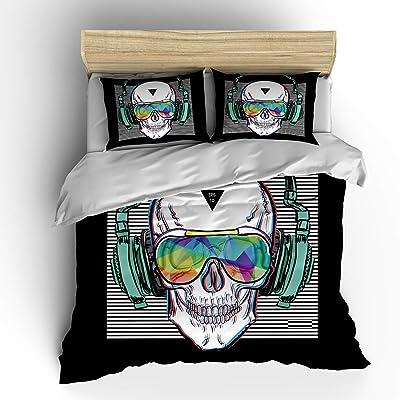 SHOMPE Music Skull Bedding Sets Twin Size,Kids White Stripes Punk Rocker Headphones Skull Duvet Cover Set with Pillowcases for Teens Boys Girls,NO Comforter: Home & Kitchen