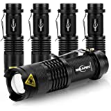 5 Pack Mini Flashlights LED Flashlight 300lm Adjustable Focus Zoomable Light (Black)