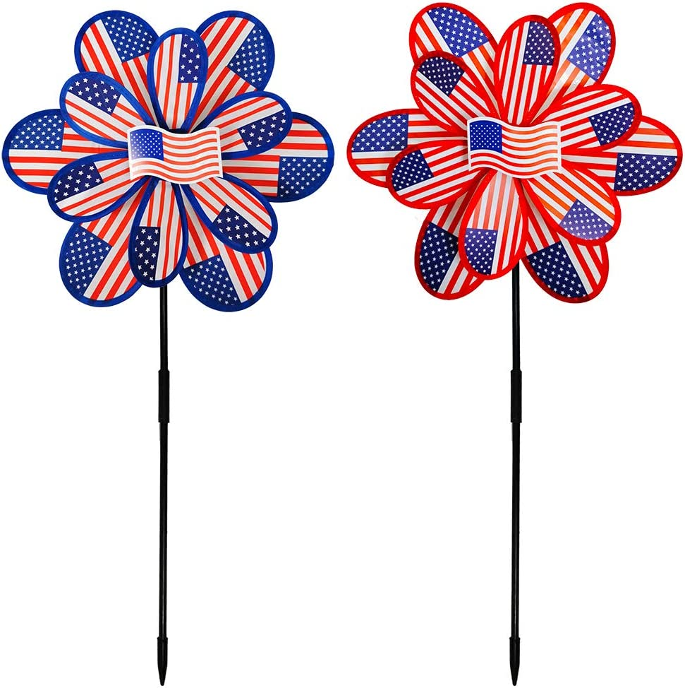 2 Pcs Jumbo Patriotic Pinwheels American USA Flag Red White Blue Pinwheels Stars & Stripes Pinwheels Picks Garden Yard Signs 30 L X 15 W for 4th Of July Memorial Day Independence Day Party Decorations