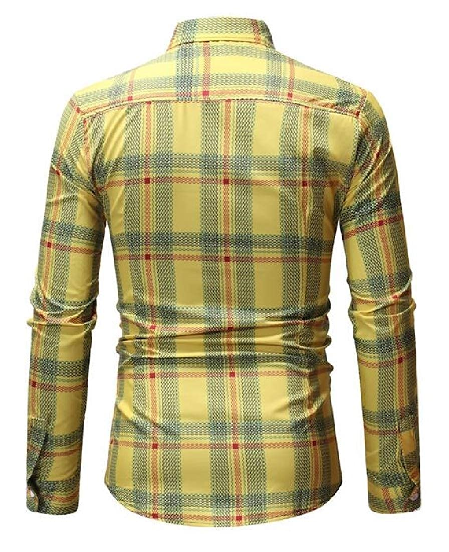 Sweatwater Mens Classic Fit Plaid Button Front Printed Slim Fit Long Sleeve Shirts