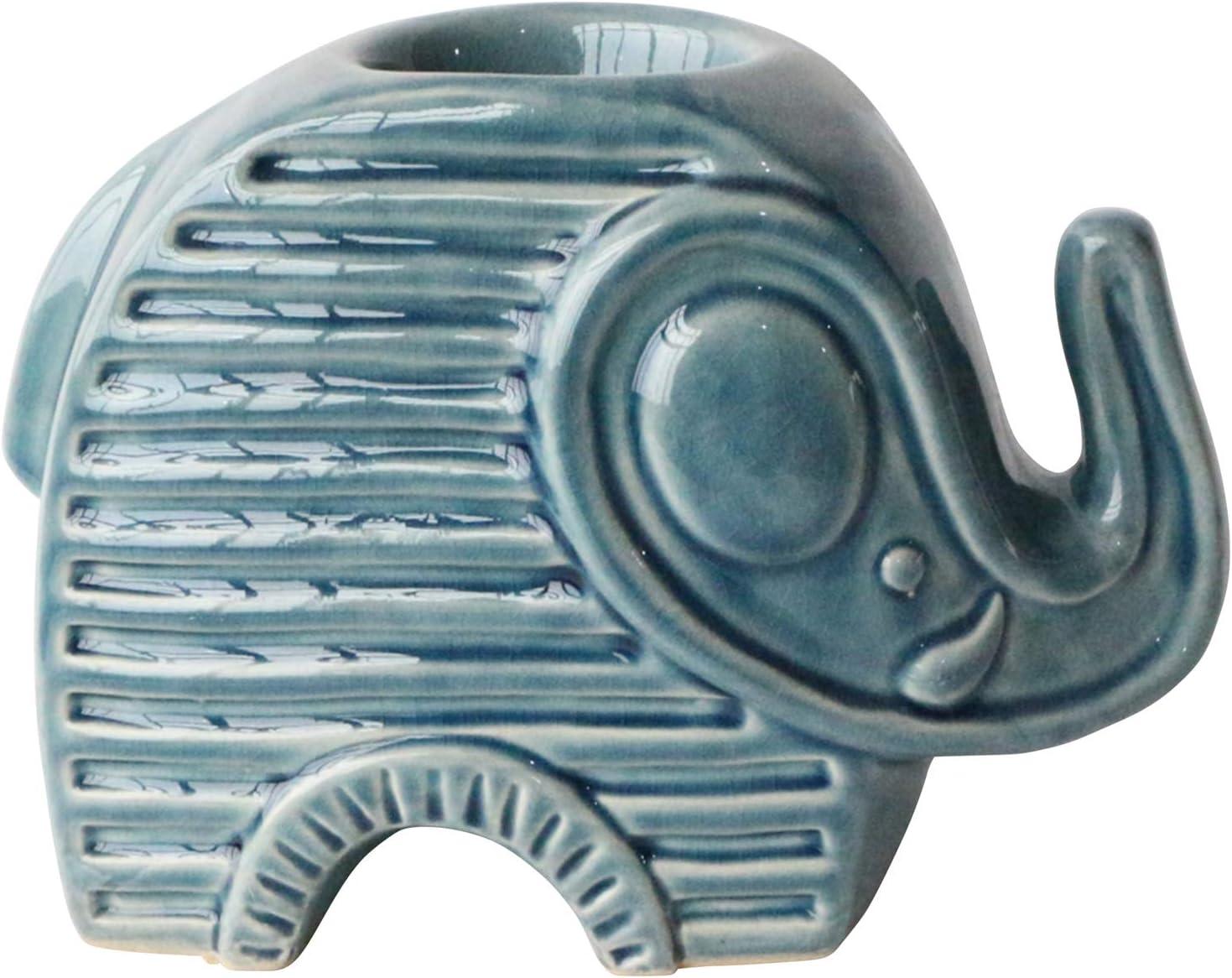"Sagebrook Home 14954-03 Ceramic 6"" Elephant Tea Light Candle Holder, Blue, 9"" L x 5"" W x 6"" H"