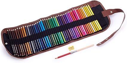 Lápices de colores en estuche enrollable para niños y adultos, 48 lápices, ideal para dibujar y colorear, no tóxico, núcleo suave de 3,5 mm, estuche enrollable, sacapuntas, accesorio de extensión: Amazon.es: Oficina