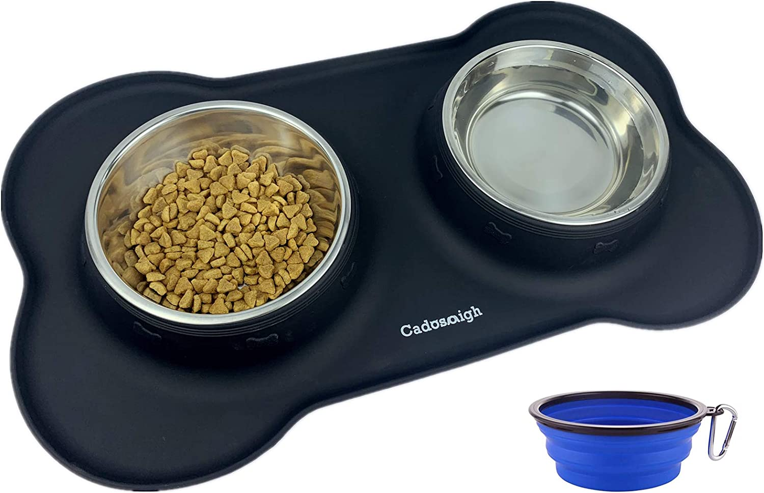 Cadosoigh Pet Double Bowls Non Slip Dog Bowls Stainless Steel Bowls Set with Non-Spill Silicone Mats Tray for Small Middle cat Puppy… (Black)