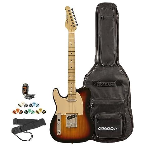 Diente de Sierra et serie zurdos guitarra eléctrica, guitarra Correa de instrucciones, incluye funda