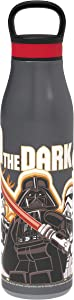 Zak Designs Lego Star Wars Vacuum Insulated Water Bottle with Leak-Proof Lid Chug Opening, and Carry Loop, Made with Food-Grade Stainless Steel 18/8 SS, 20oz, Darth Vader