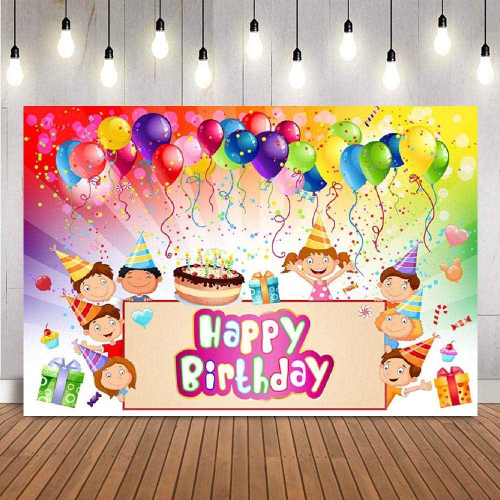 Birthday Background Cake Balloon Ribbon Gift Baby Shower Studio Props Kids Photography Backdrops Vinyl Newborn Birthday Party Decorations 5X3FT