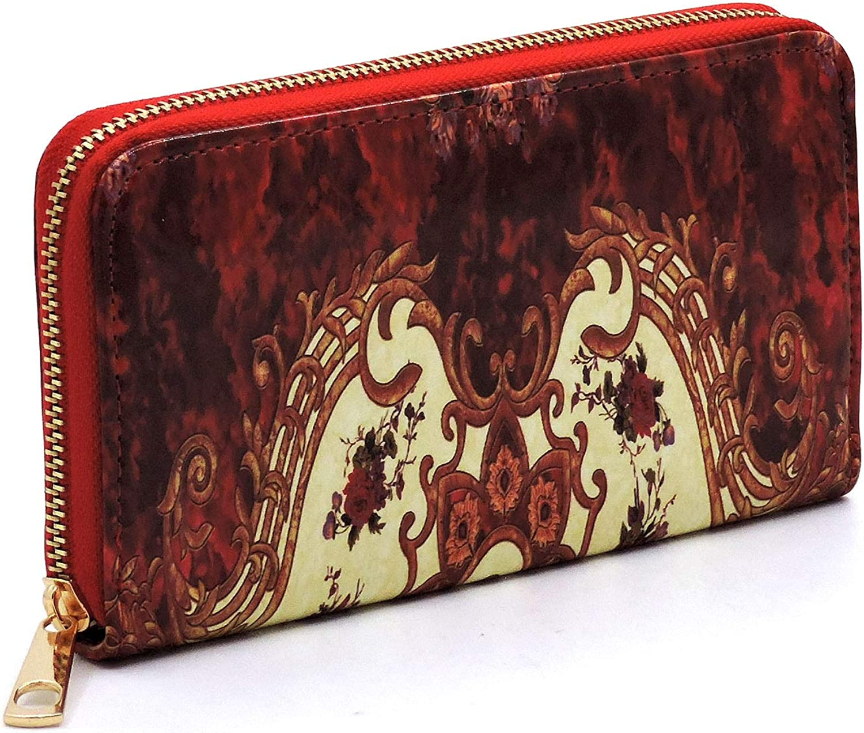 Handbag Republic Glossy Antique Flower Pattern Turn-Lock Satchel w//Strap Wallet