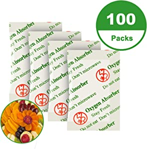 Premium!!100CC(100-Pack) Food Grade Oxygen Absorbers Packets for Home Made Jerky and Long Term Food Storage, Stored in Vacuum Bag and 3 times Oxygen Absorption Capacity