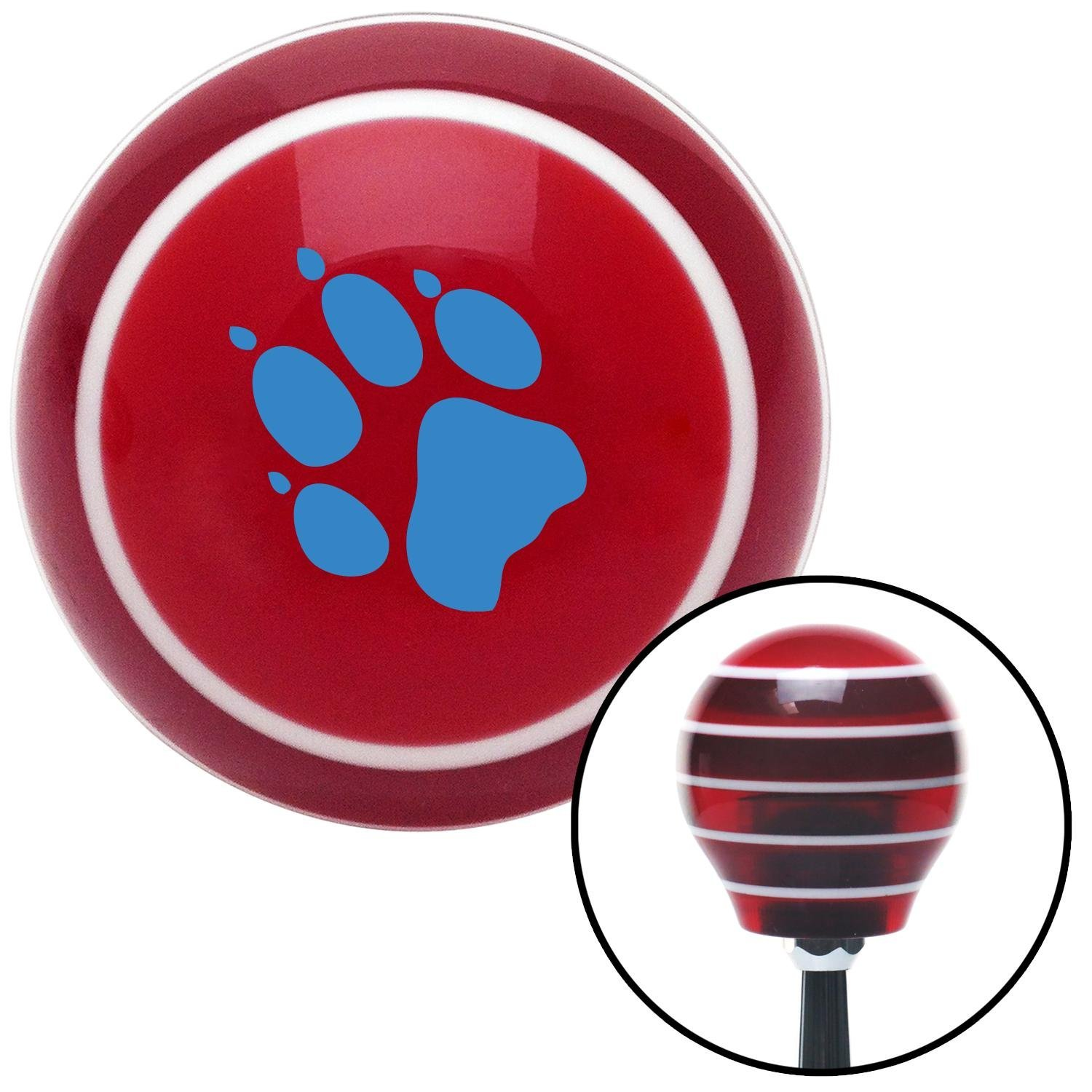 American Shifter 111677 Red Stripe Shift Knob with M16 x 1.5 Insert Blue Paw Print