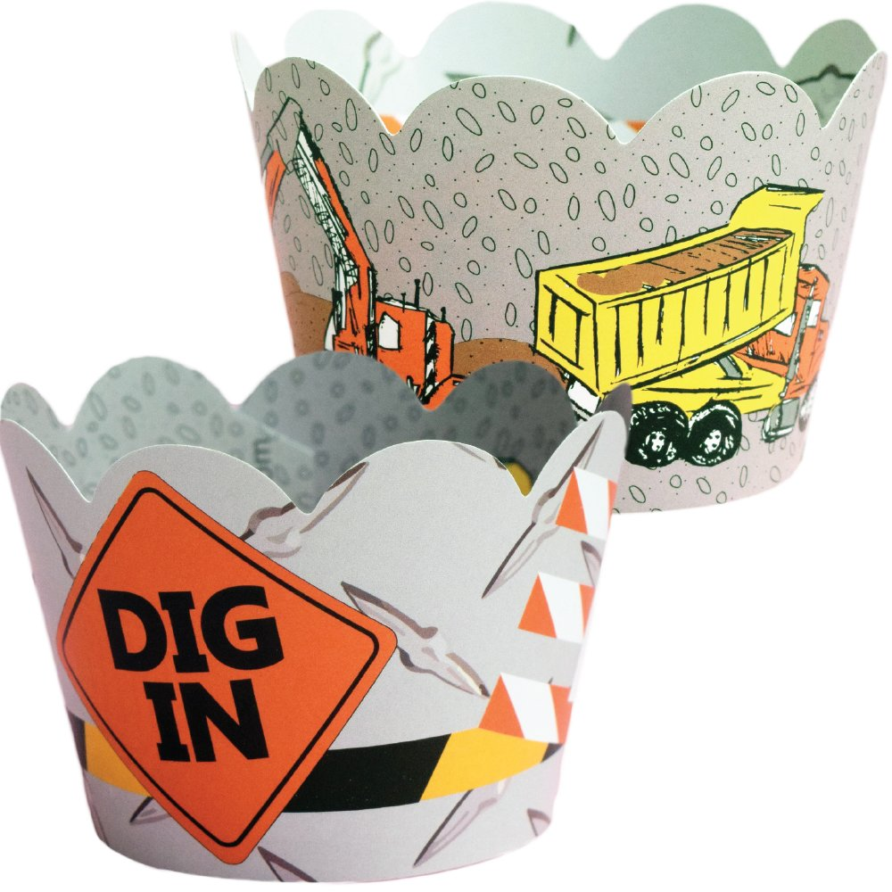Construction Birthday Party Supplies - 36 Cupcake Wrappers, Dig In Cup Cake Holders, Reversible Work Zone Wraps, Dump Truck Theme, Road Sign Decorations, Under Construction Baby Shower, Builder B-Day